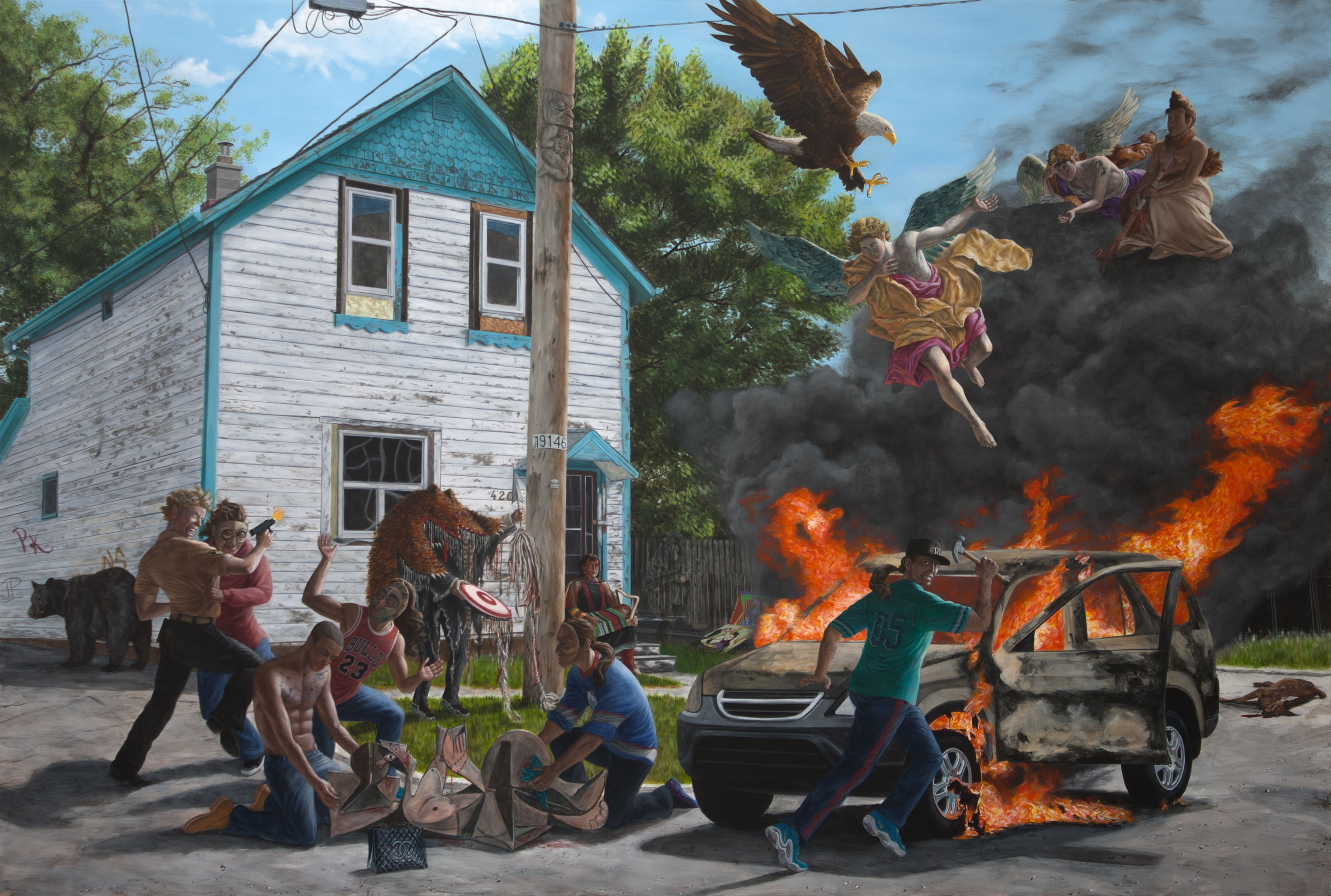 "Kent Monkman, Struggle for Balance, 2013. Acrylic on Canvas. 84"" X 126"""